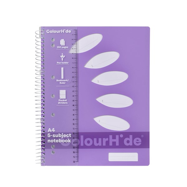 ColourHide 5-Subject Notebook A4 250 Page - main image